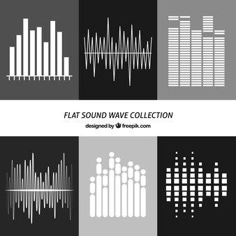 Colección plana de ondas de sonido