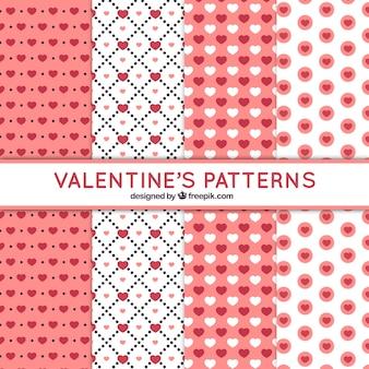 Colección plana de patrones rosas y blancos para el día de san valentín
