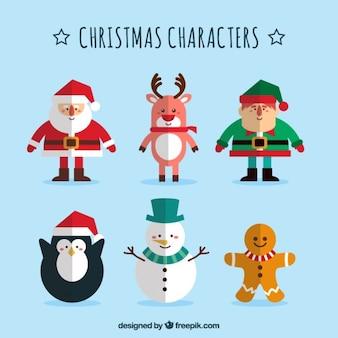 Colección plana de personajes navideños
