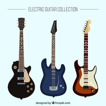 Colección plana de tres guitarras eléctricas