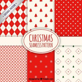 Colección roja de patrones de navidad