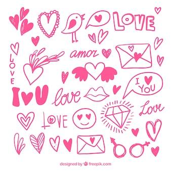 Colección rosa de objetos dibujados a mano para el día de san valentín