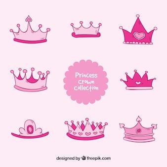 Colección rosada de coronas de princesa