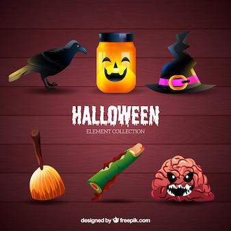 Colección temática de elementos típicos de halloween