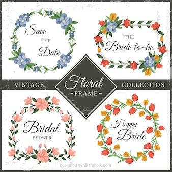 Colección vintage de marcos florales multicolores