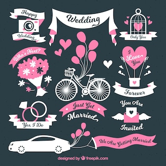 Coleccón de elementos de boda rosas y blancos