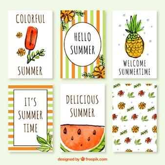 Coleción de tarjetas de verano en efecto de acuarela