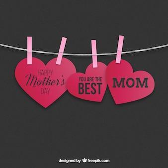 Colgando corazones madres tarjeta del día
