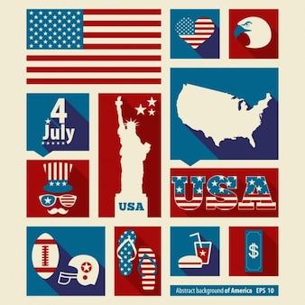 Collage de elementos americanos del día de la independencia