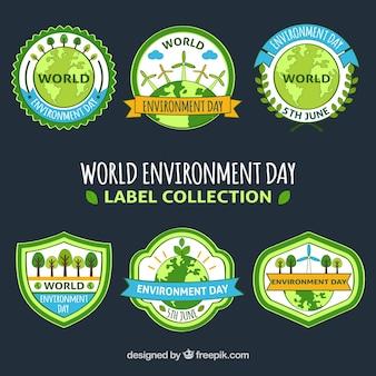 Colleción de pegatinas con lazo del día mundial del medioambiente