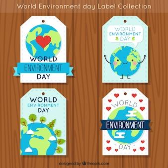 Colleción de pegatinas del día mundial del medioambiente con dibujo de la tierra