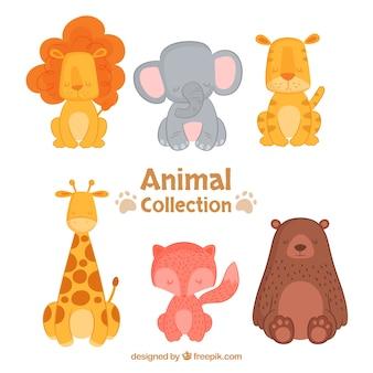 Colleción feliz de animales con diseño plano