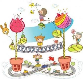 Colorida abstracta con niños y flores