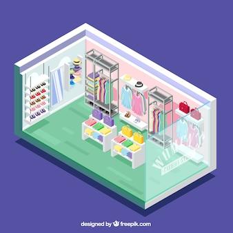 Colorida tienda de ropa, vista isométrica