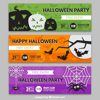 Coloridas banners de fiesta de halloween