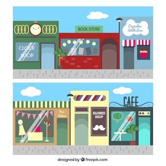 coloridas fachadas de tiendas