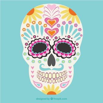 Colorido cráneo mexicano floral