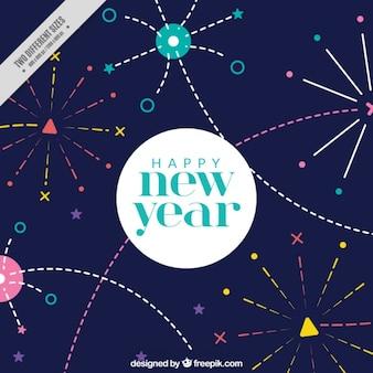 Colorido fondo con divertidos fuegos artificiales para año nuevo