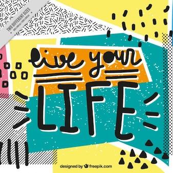 Colorido fondo memphis con mensaje positivo