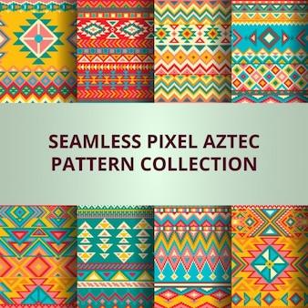 Colorido patrón pixel azteca