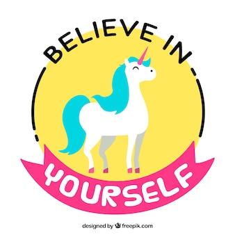 Colorido unicornio con una phrase positiva