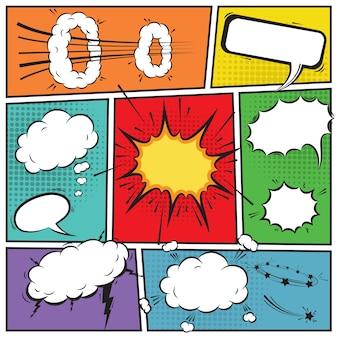 Comic burbujas de discurso y fondo de historieta ilustración vectorial