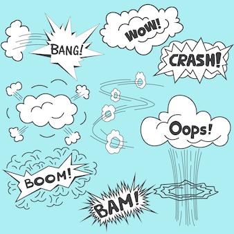 Cómics elementos de diseño de ilustración vectorial de dibujos animados