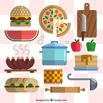 Comida con herramientas de cocina en estilo plano