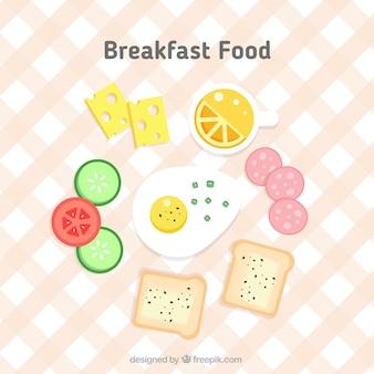 Comida de desayuno delicioso en diseño plano
