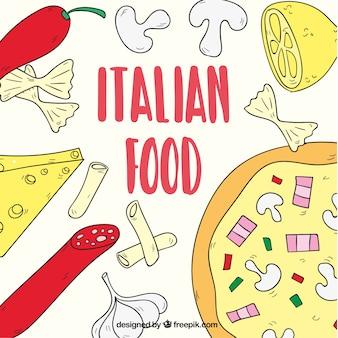 Comida italiana , fondo dibujado a mano