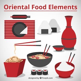 Comida oriental y elementos rojos