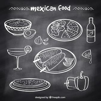 Comida típica mexicana dibujada a mano en estilo pizarra