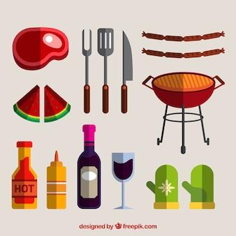 Comida y elementos para barbacoa