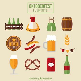 Comida y elementos para el festival de oktoberfest