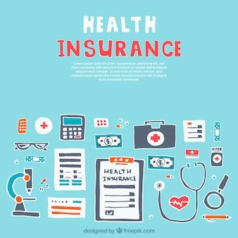 Complementos del seguro de salud dibujados a mano