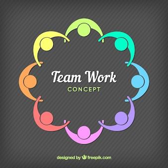 Composición colorida de trabajo en equipo