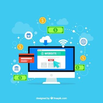 Composición de pago online con diseño plano