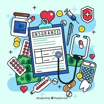 Composición divertida de elementos con estilo del seguro de salud