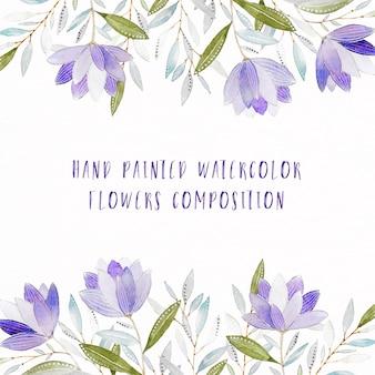 Composición floral pintada a mano de acuarela púrpura