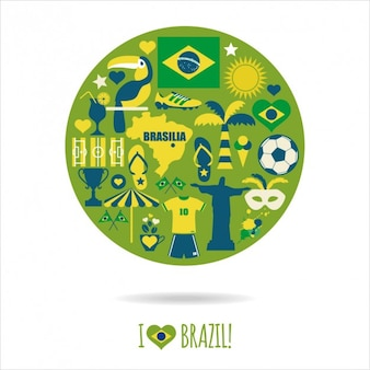 Composición redonda con los elementos típicos de Brasil