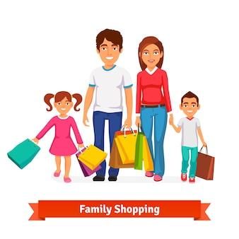 Compras de la familia Plano ilustración vectorial estilo
