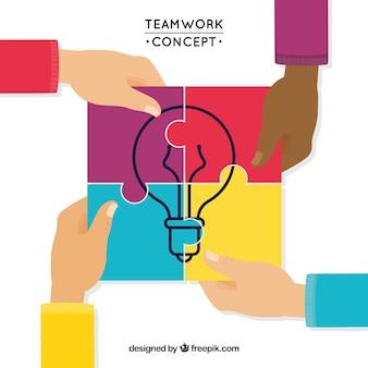 Concepto acerca del trabajo en equipo a todo color