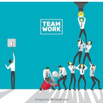 Concepto acerca del trabajo en equipo, bombilla