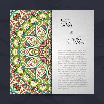 Concepto colorido de invitación de boda de mandala