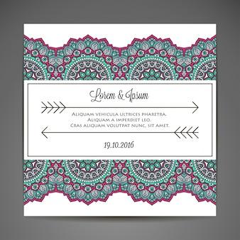 Concepto creativo de invitación de boda de mandala