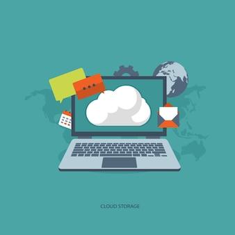 Concepto de almacenamiento en la nube