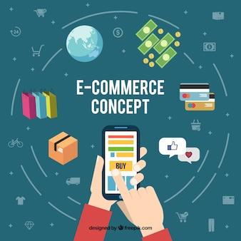 Concepto de comercio online con smartphone