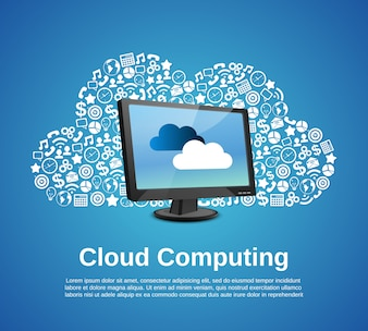 Concepto de computación en la nube con el monitor y los iconos de negocios conjunto ilustración vectorial