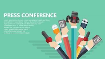 Concepto de conferencia de prensa