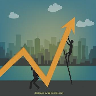 Concepto de crecimiento de trabajo en equipo